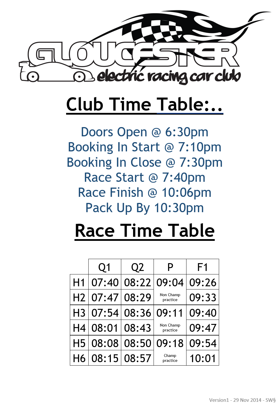 Club Time Table